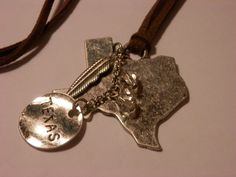 'TEXAS' Map Pendant w/Charms on Leather Cord ~ 30 inches w/3 inch EXT. #AimeesTreasures #Novelty