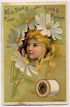 J and P Coats Thread - 1895 Trade Card. Quilt Block printed on cotton. Vintage Labels, Vintage Cards, Vintage Paper, Vintage Postcards, Vintage Sewing, Vintage Ephemera, Vintage Pictures, Vintage Images, Sewing Cards