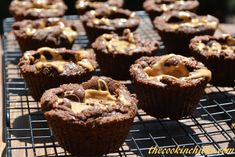 Chocolate Peanut Butter Brownie Bites (use mini-muffin tin; bake 6min) | The Cookin Chicks
