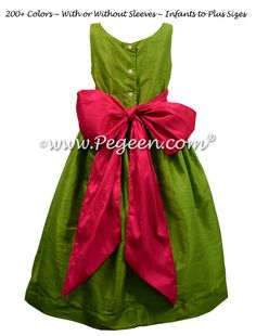 Flower Girl Dress in Grass Green and Raspberry Pink - Pegeen Style 388