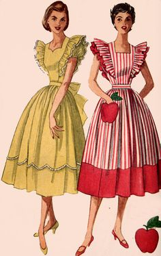 1950s Pinafore Dress with Sweetheart neckline Simplicity 4138 Vintage 50s Sewing…