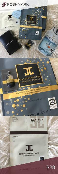 K Beauty Bundle Bundle ( fresh from South Korea, boyfriend went to the Olympics ) of 3 sheet masks ( gold snow black mask + multi-vita tone up +collagen skin fit mask). Box of Jayjun Essence Cloths. Soothing Facial Kit( toner + emulsion) xoxo Sephora Makeup