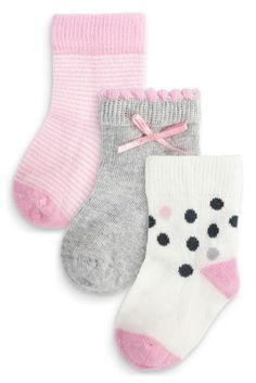 de65412ae Buy Three Pack Pink And Grey Spot Socks from the Next UK online shop