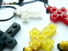 Cool Lego cross necklaces...easy to make!