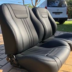 Sweet custom bucket seats upholstered by Car Interior Upholstery, Automotive Upholstery, Camaro Interior, Custom Car Interior, Bucket Seats, Seat Covers, Chevy Trucks, Leather Working, Motor Car