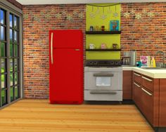 Natural sims 4. - Download recolor fridge red apple of love