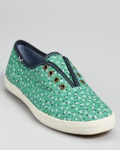 Keds Green Champion Laceless Floral Sneakers