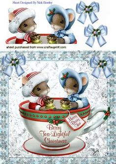 TWO LITTLE CHRISTMAS MICE SITTING IN A TEACUP 8X8 on Craftsuprint designed by Nick Bowley - TWO LITTLE CHRISTMAS MICE SITTING IN A TEACUP 8X8, Makes a cute christmas card - Now available for download!
