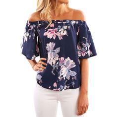 Free Shipping. Buy Nlife Women Floral Print Off Shoulder Shirt Blouse at  Walmart.com c8dd5c3901