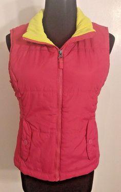 Sz M Aeropostale Vest Pink Puff Yellow Sleeveless Full Zip BUY FIVE+ =FREE SHIP! #Aeropostale