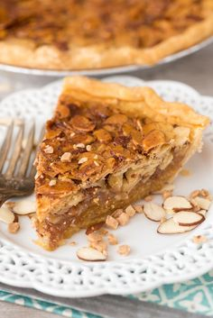Toffee Almond Pie - an EASY pie recipe filled with toffee and almonds. It's like a pecan pie but with almonds! Everyone loves this pie.