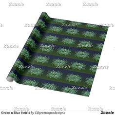 Green n Blue Swirls Wrapping Paper
