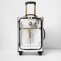 River Island Silver and gold trim suitcase (£80) ❤ liked on Polyvore  featuring 65d2f91849