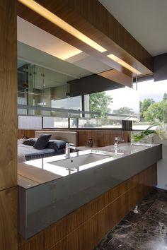 Smart lighting aove the bathroom vanity