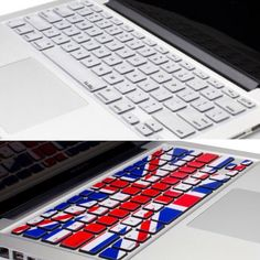 2 MacBook Air Keyboard Covers 2 silicone keyboard covers for MacBook Air. 1 Union Jack (British flag) cover - never used - and 1 plain silver cover. No damage or wear on either. Accessories Laptop Cases