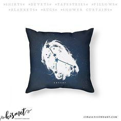 Is your head constantly in the clouds? Try lying down on this heavenly throw pillow with your zodiac sign  FREE SHIPPING CODE: VDAY5497d3  FinallyFoundArt.com  #cancer #astrology #horoscope #constellation #zodiac #exploration #skies #moon #kismet #universe #valentinesday #valentinesgift
