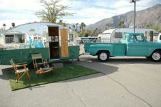 Sweet, 60s stepside Chevy  camp trailer