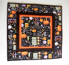 Modern Halloween Quilted Table Topper Table by ForgetMeNotQuilteds