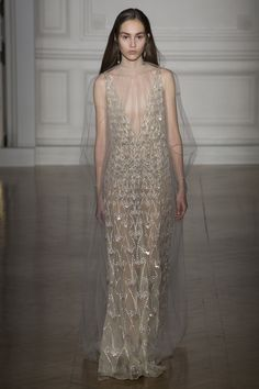 Rustic, vintage and elegant gown at Valentino #SS17 #Couture #PFW