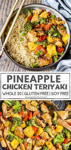 Pineapple Teriyaki Chicken Stir Fry {Whole30} | This easy and flavorful Pineapple Teriyaki Chicken is sweet and tangy. Perfect for the family to enjoy. It is Whole30, gluten free, and low carb as well. The juicy chicken and sweet pineapple covered in sweet and sticky teriyaki sauce, this will be a crowd pleaser this summer or any season. #pineapple #teriyakichicken #healthydinner #whole30recipe Easy Clean Eating Recipes, Easy Chicken Dinner Recipes, Healthy Pasta Recipes, Healthy Pastas, Lunch Recipes, Real Food Recipes, Freezer Recipes, Paleo Food, Freezer Cooking