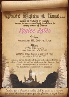 Once Upon A Time Fairytale Baby Shower Invitation   Customizable Digital  Download OR Prints (Details Below)