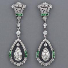 Art Deco European Diamond Earrings