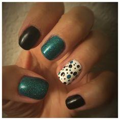 Feb 2016: Nail Art - Teal, Black, and Polka Dots