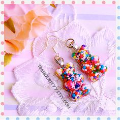 Gummy Bears Earrings Candy Sprinkle Resin 925 by tranquilityy