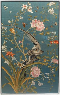 A Chinese Embroidered Silk Panel, Framed