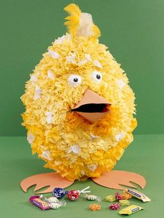 Chick Pinata -     Kids will have a blast creating (and breaking) this adorable pinata. Made from newspaper strips soaked in a flour-and-wat...