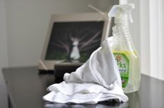 DIY Dusting Spray  1 cup white vinegar, 1/2 teaspoon olive oil, 3 cups water  Pour all three ingredients into an empty spray bottle. Shake well and spritz on furniture. Wipe with an old cotton t-shirt.