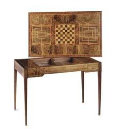 A Swiss walnut, mahogany and fruitwood marquetry games table  late 18th century  The rectangular top inlaid with chess and mill, and with green felt lining to the reverse, enclosing a tric trac field, flanked by a pair of drawers, on fluted square tapering legs