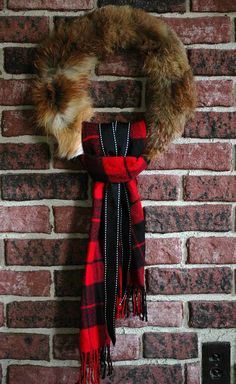 Fox fur with buffalo plaid scarf and ribbon. Measures 15 x 15 x 3 Plaid Scarf/ribbon hang 20 Cabin Christmas, Nordic Christmas, Christmas Mantels, Plaid Christmas, Christmas Holidays, Christmas Wreaths, Christmas Decorations, Christmas Stuff, Xmas