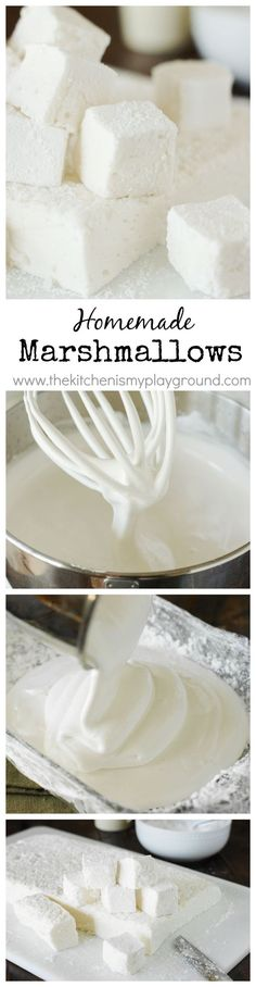 How to Make Homemade Marshmallows ~ they're TOTALLY worth the homemade time & effort! How to Make Homemade Marshmallows ~ they're TOTALLY worth the homemade time & effort! Recipes With Marshmallows, Homemade Marshmallows, Homemade Candies, Making Marshmallows, Marshmallow Recipes, Mini Desserts, Just Desserts, Delicious Desserts, Yummy Food