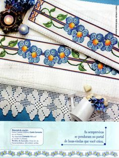 Sandrinha Ponto Cruz: Flores azuis Cross Stitch Borders, Crochet Borders, Cross Stitch Flowers, Cross Stitch Patterns, Embroidery Patterns Free, Bargello, Baby Patterns, Needlepoint, Needlework