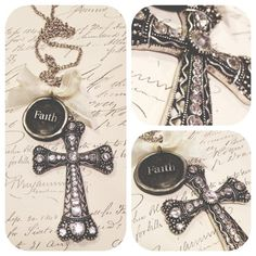 Rhinestone Cross with Faith wax seal soldered by thehansenfamily, $48.00