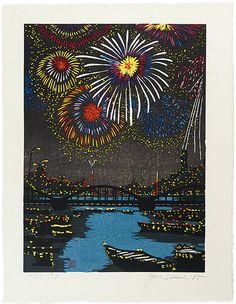 Ryogoku(Fireworks) by Sekino Junichiro / 両国(花火)関野凖一郎