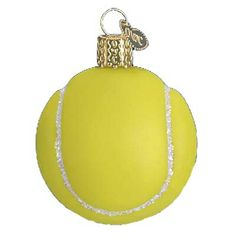 "Tennis Ball Glass Christmas Ornament Merck Family's Old World Christmas, 44013 Tennis ball is yellow with details in glitter. It is approximately 2"" x 2 1/2"". This traditional and"