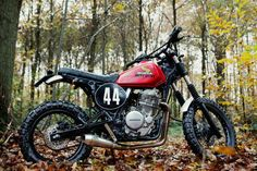 Dirty Sandy: a custom Honda Dominator dual sport from France.