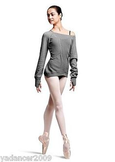 BLOCH Ladies Dance Sweater with Textured Open Knit Panels Grey Marl Small  UK 8 in Clothes, Shoes & Accessories