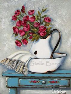 Stella Bruwer white enamel pitcher and basin with white fringe towel red flowers shabby blue table with drawer has small red flowers on drawer front Decoupage Vintage, Painting On Wood, Painting & Drawing, Stella Art, Naive Art, Beautiful Paintings, Painting Inspiration, Flower Art, Art Pictures