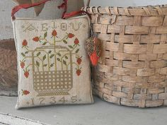 Notforgotten Farm: Strawberry Basket Hanging Pinkeep with Emery.