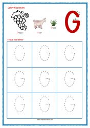 Tracing Letters - Letter Tracing Worksheets - Capital G - Free Preschool Printables Free Printable Alphabet Worksheets, Letter Worksheets For Preschool, Handwriting Practice Worksheets, Free Preschool, Preschool Printables, Free Printables, Preschool Alphabet, Alphabet Crafts, Tracing Letters