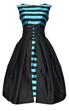 Black and Turquoise Stripe Taffeta Paloma Dress from the Dollydagger Boutique Collection