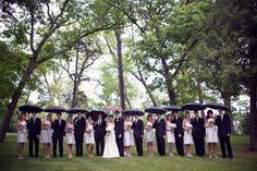 grey bridesmaid bridal party - with umbrellas!  2 people per umrella