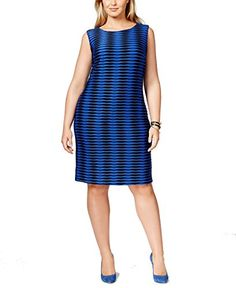 Calvin Klein Womens PlusSize Sleeveless Shift Dress AtlantisBlack 20W *** To view further for this item, visit the image link.