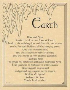 Earth Invocation Parchment Page for Book of Shadows Pagan Wicca Witch Under Your Spell, 5 Elements, Elements Of Nature, Pagan Witch, Gypsy Witch, Norse Pagan, Pagan Art, Book Of Shadows, Magick