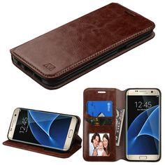 MYBAT Flip-Stand Leather Wallet Samsung Galaxy S7 Edge Case - Brown
