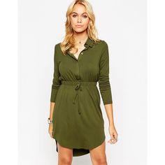 ASOS Shirt Dress (5275 RSD) ❤ liked on Polyvore featuring dresses, khaki, slimming dresses, hi low dress, tall dresses, long shirt dress and khaki dress