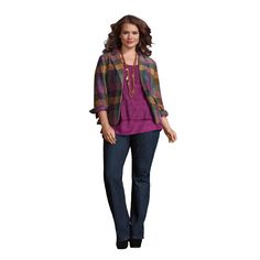 Enhance those natural curves in the Brando Jeans, Lacy Top, Boysenberry Cami & Happy Blazer! #CAbi #FullFigureFashion